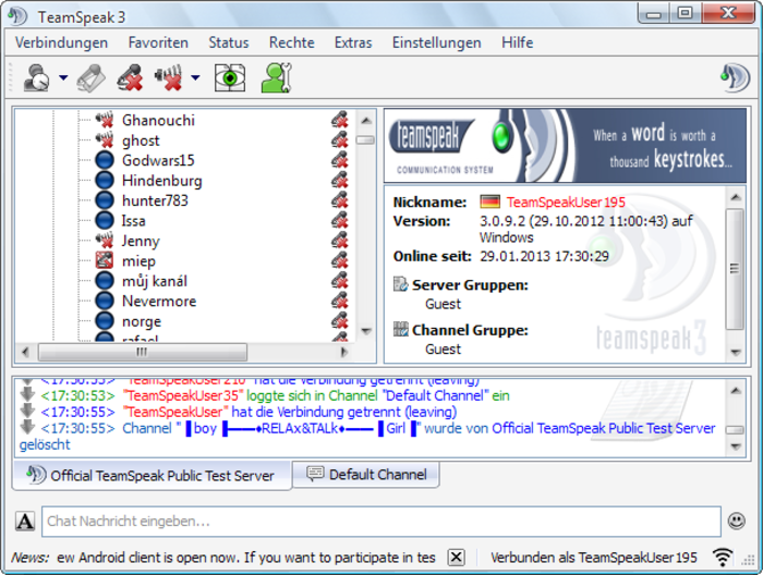 Screenshot des Teamspeak 3 Clients